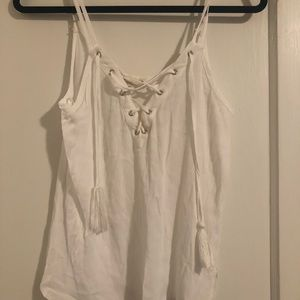 White Tank with Fringe Tassels - Size S